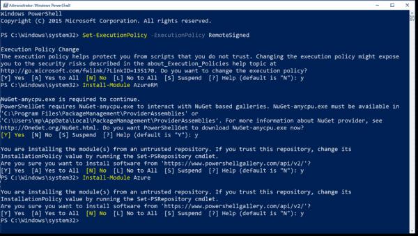 Installing Azure PowerShell