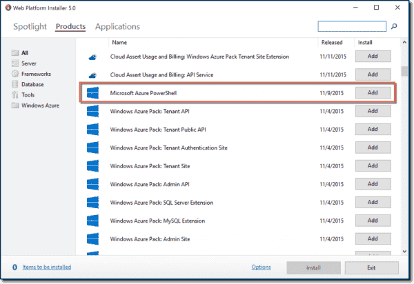 Installing Azure PowerShell via WebPi