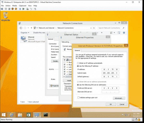 Manually configuring the Hyper-V VM