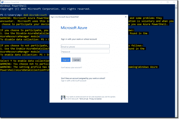 Signing in to Azure with Add-AzureAccount