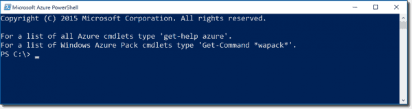 The Azure PowerShell console