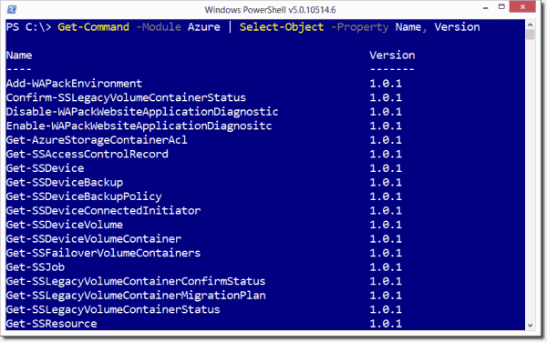 Viewing the commands contained in the Azure Service Management module