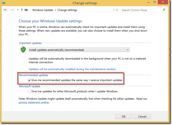 Windows Update setting that controls recommended updates