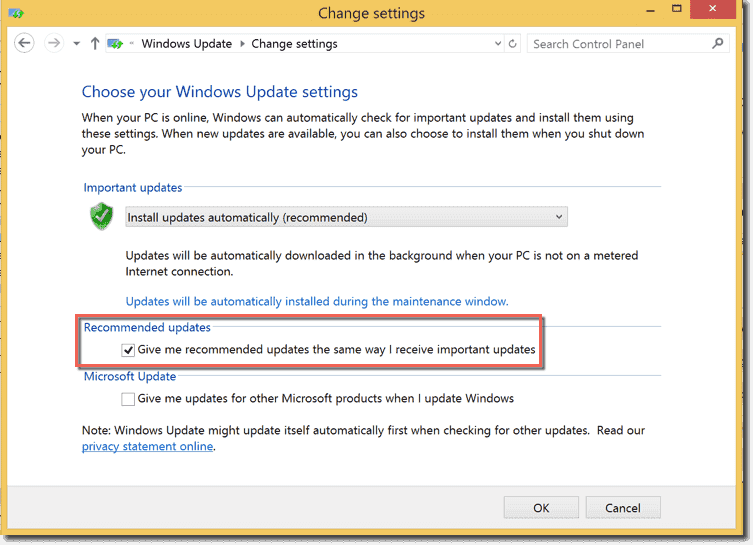 How to block the automatic upgrade to windows 10 4sysops windows update setting that controls recommended updates toneelgroepblik Image collections