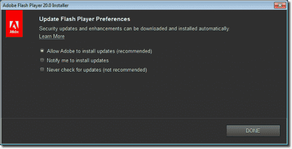 Adobe Flash Player exe installer prompting for update preference during install