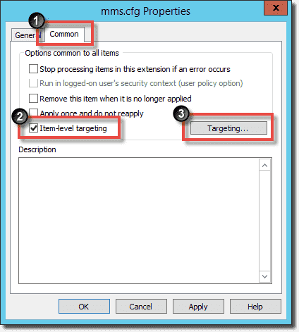 Configure Item-level targeting for the file copy