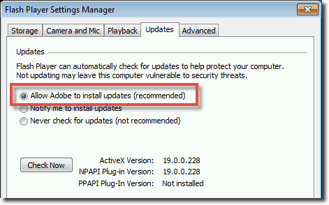 Enable automatic silent updates in the Flash Player Settings Manager
