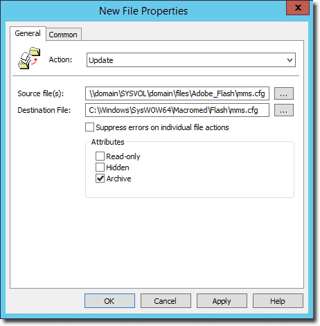 New File Properties to copy mms.cfg to x64 Windows