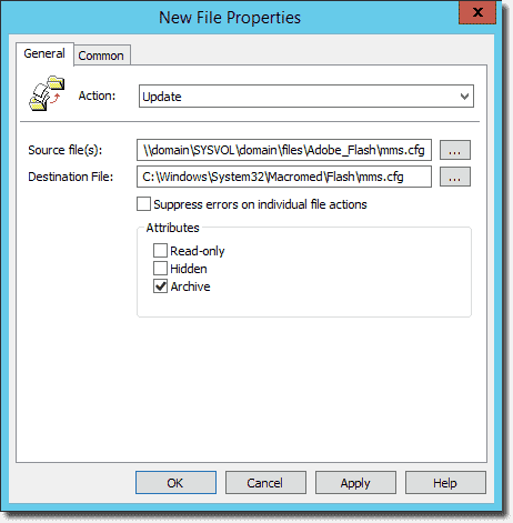 New File Properties to copy mms.cfg to x86 Windows