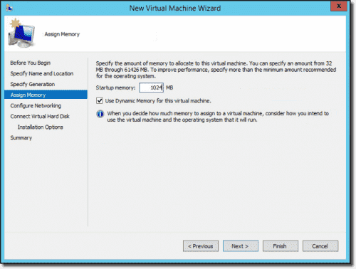 Virtual machine memory settings