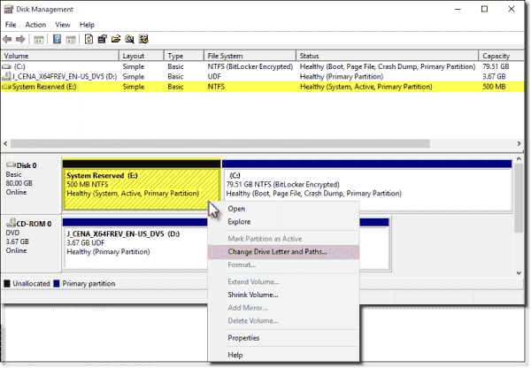 Add a drive letter to reveal the System Reserved Partition contents