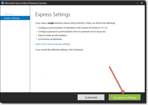 Choosing Express Settings for Azure AD Connect