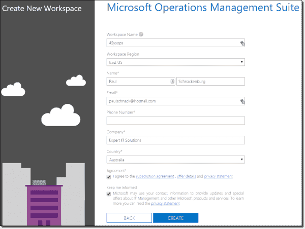Creating an Operations Management Suite workspace