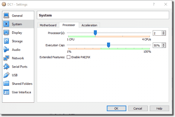 DC1 system settings processor(s) and execution cap