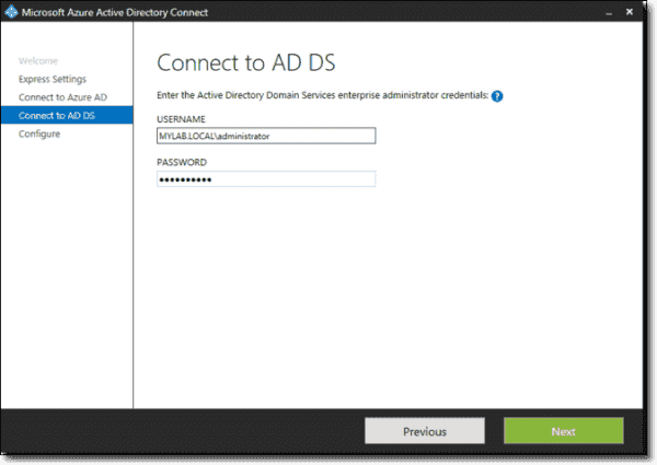 Entering on-premises AD credentials
