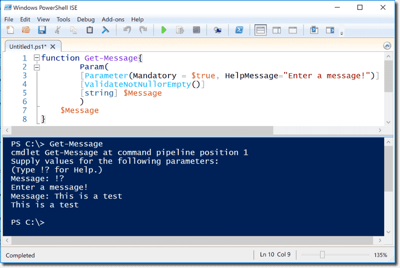 User input in PowerShell – Read-Host, mandatory = $true