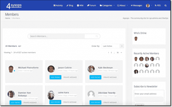 The member page lists all IT pros in the 4sysops IT pro network