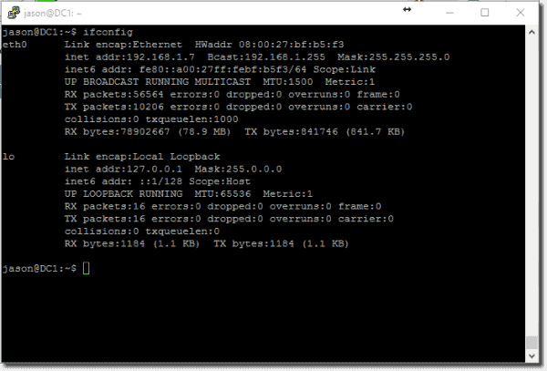 ifconfig results