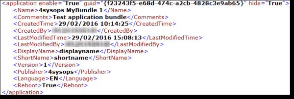 Application bundle - Applications xml