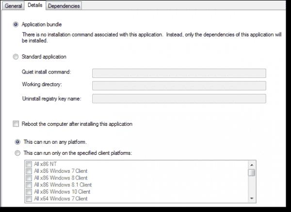 Application bundle - Details tab