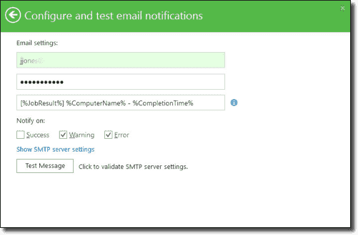 Configure and test email configuration