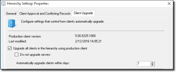 The client upgrade feature in SCCM 1511.