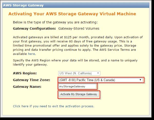Activate storage gateway