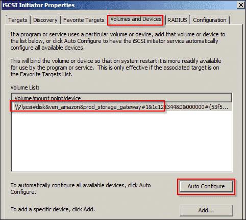 Auto configure iSCSI volumes