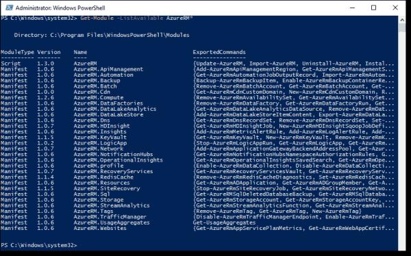 Available AzureRM modules