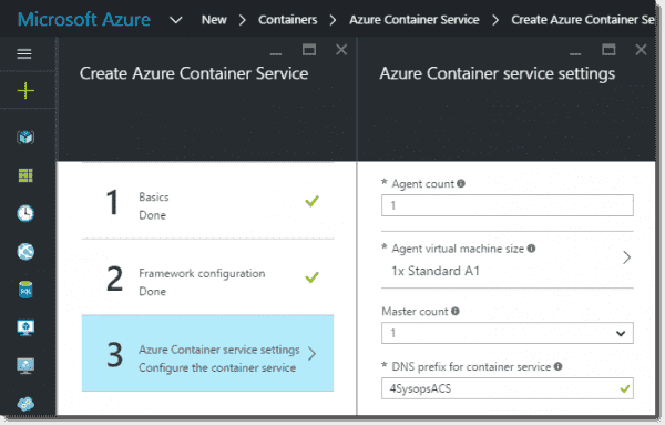 Azure Container Service agent and master settings