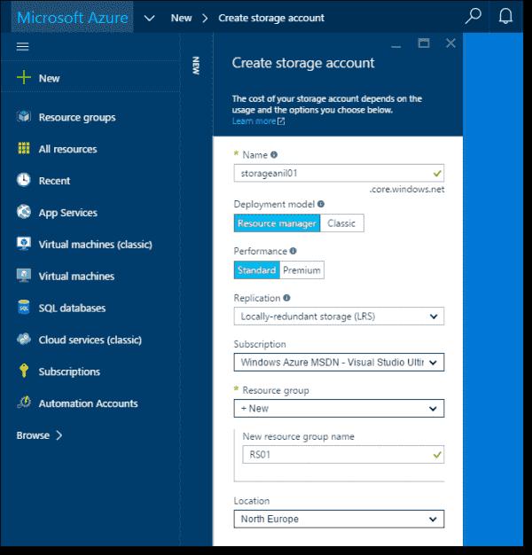 Creating storage account options