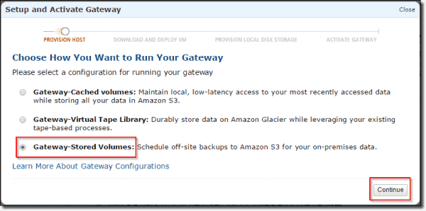 Select gateway-stored volumes