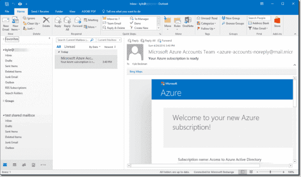 Shared mailbox in Outlook 2016
