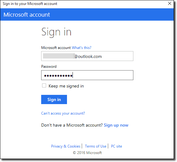 Signing in to Azure