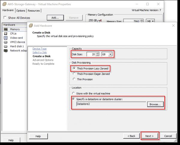Specify datastore