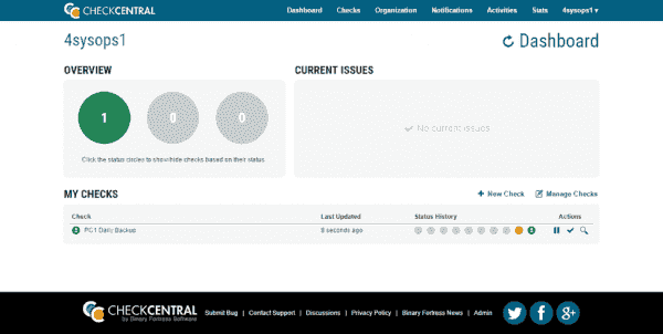 The CheckCentral Dashboard page