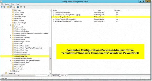 We can set PowerShell script execution policy in Group Policy