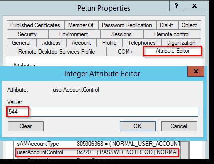 userAccountControl attribute before the change