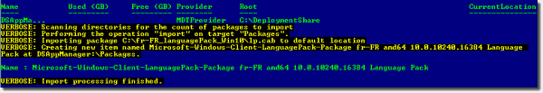 Result of the PowerShell script to add a package