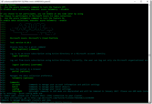 Azure CLI Help