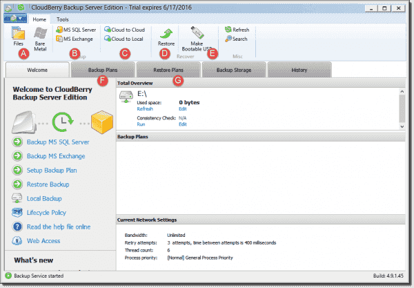 CloudBerry Server Backup user interface