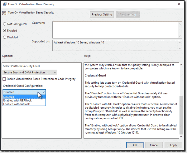 Enable Credential Guard in local Group Policy