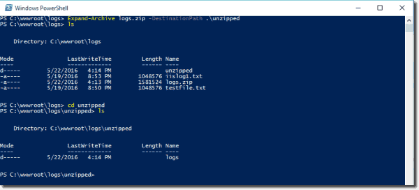 Expanding compressed files using PowerShell and the Expand-Archive cmdlet