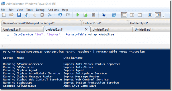 Get-Service with wildcards