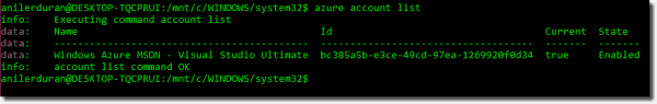 Listing accounts on Azure CLI