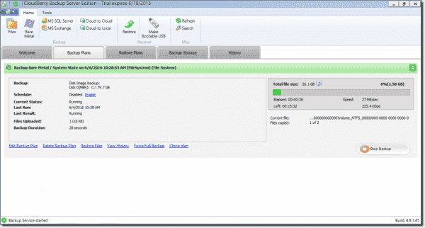Managing CloudBerry backup plans
