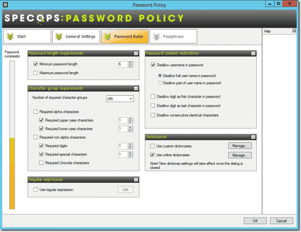 Password rules page from Specops Password Policy