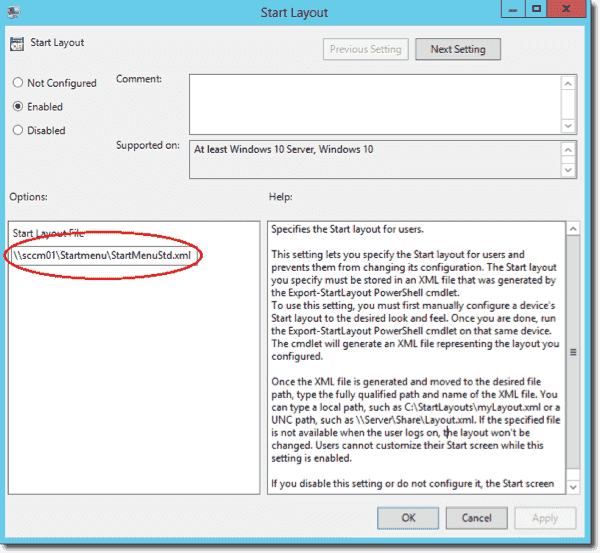 Path to XML file in the Strat Layout Group Policy