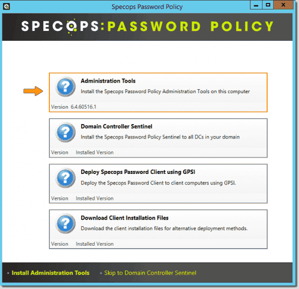 Specops Password Policy installation wizard