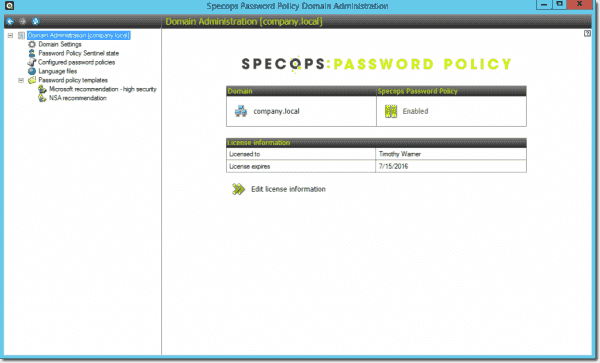 The Specops Password Policy management tool
